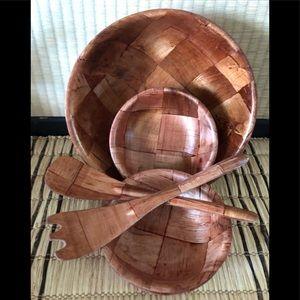 Cottagecore 1970's 7 piece woven wood salad set